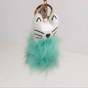 Eccolo Black & White Cat Blue Puffball Key Chain